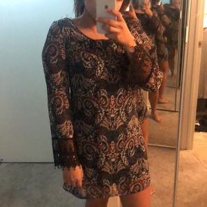 Long sleeve patterned dress